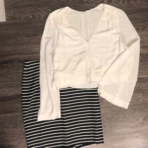 free people white blouse w bell sleeves sz xs